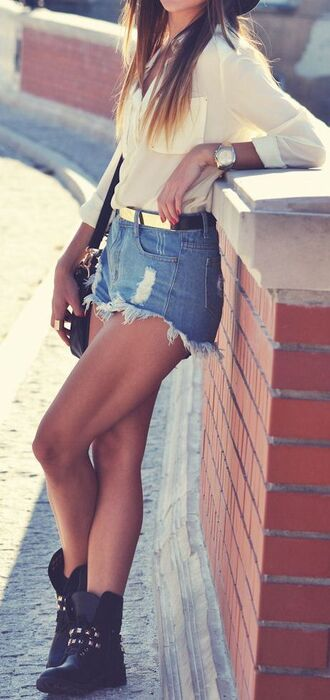 white blouse shoes blouse clothes short ripped shorts boots outfit perfect