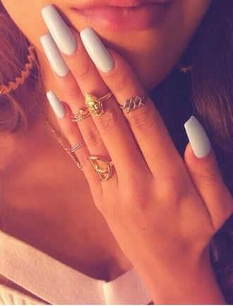 jewels rings and tings thin gold rings gold silver silver ring gold ring ring nail polish nails blue dark blue nails