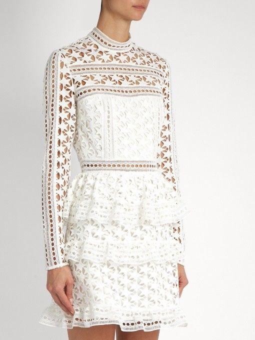 c369c61e7a4 AUTHENTIC! Self Portrait High Neck Star Lace Panelled Dress White ...