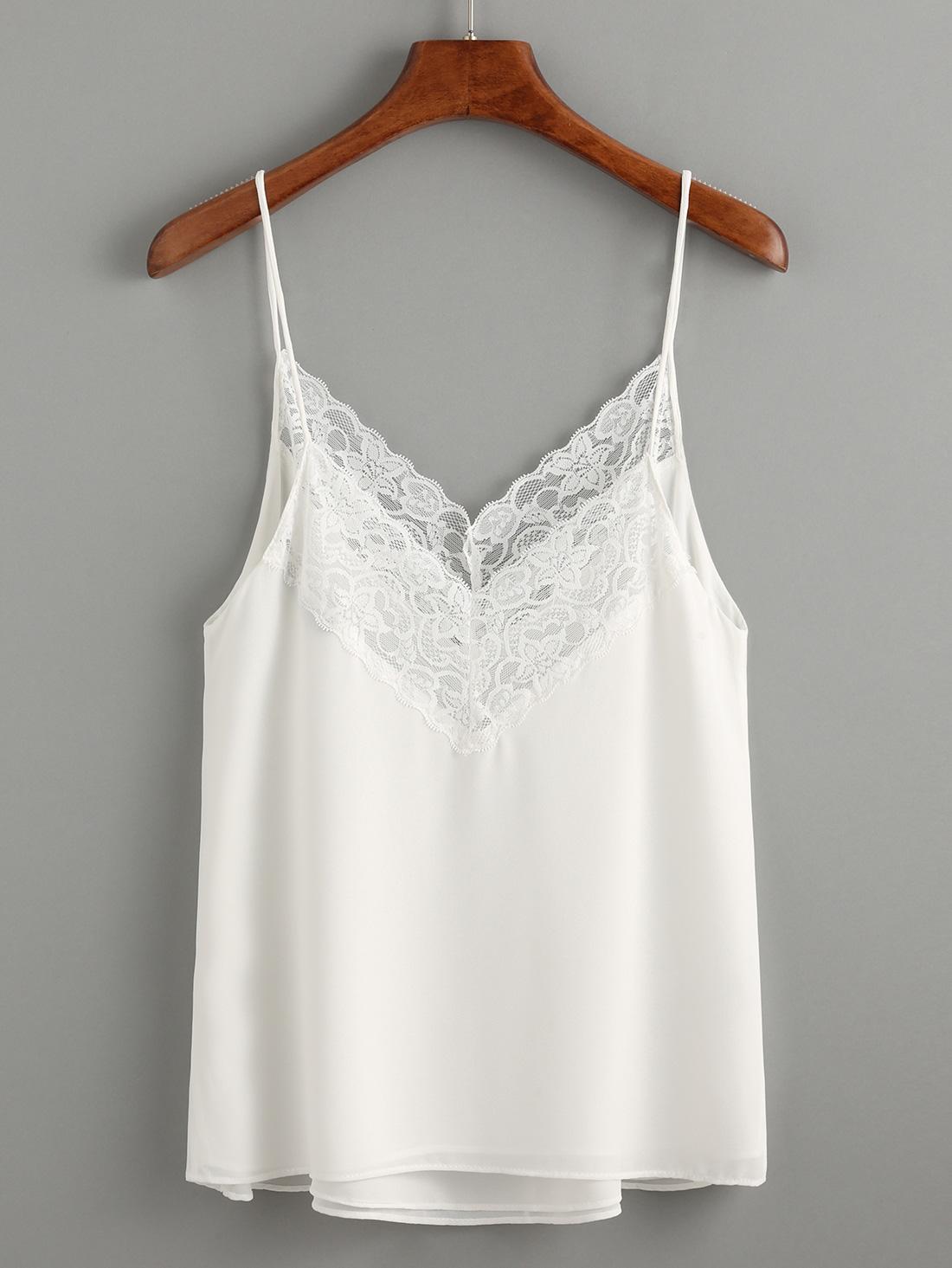 White Lace Trim Chiffon Cami Top -SheIn(Sheinside)