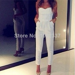Online Shop On Sale New White Pockets Pencil Long Summer Bodysuit Overalls Slim Pants Ladies Women's Jumpsuit Rompers Quality Brand WH54|Aliexpress Mobile