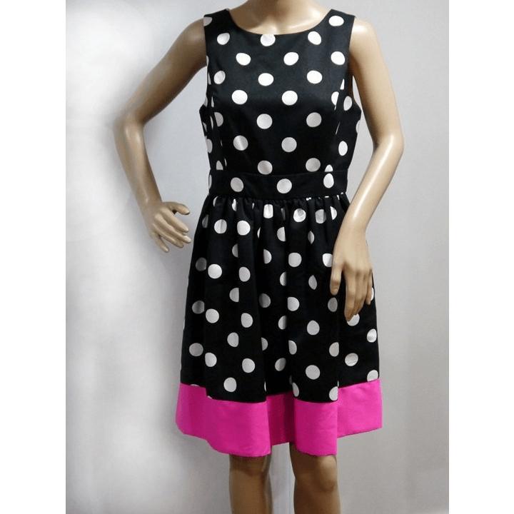 Black, White, Pink Polka Dot Sleeveless Dress by RedSaksFifthAvenue