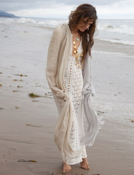 v-neck crochet summer outfits bohemian dress style white dress maxi dress