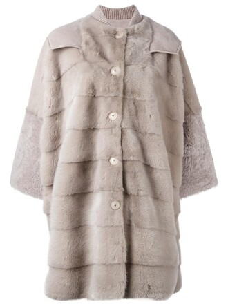 coat oversized fur women grey