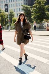 shoes,pumps,suede pumps,blazer,oversized,shorts,retro sunglasses,crossbody bag