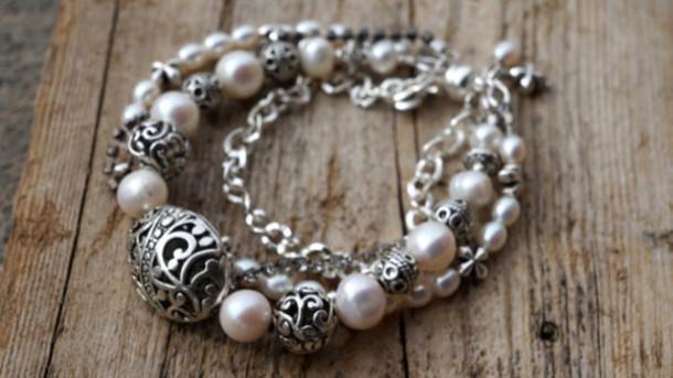 jewels pear and silver bracelet fleurdesignz.etsy.com