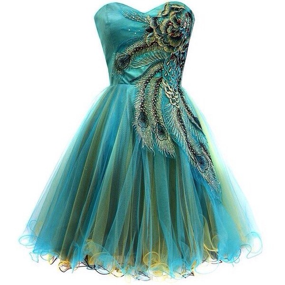 dress clothes green tumblr peacock blue prom dress peacock dress fashion turquoise short party dress