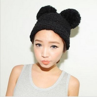 2013 New Brand Warm&Beautiful Winter Knitted Wool Hat Women's mickey ear Lady pompon Beanie Hats Wholesale-in Skullies & Beanies from Apparel & Accessories on Aliexpress.com