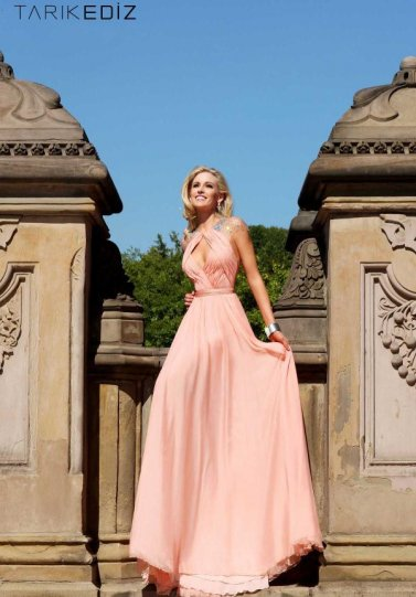 Coral Pleated Top Cutout Bust Open Back Beaded Long Evening Gown [Coral Beaded Long Evening Gown] - $260.00 : Hot Sale Prom Dresses & Homecoming Dresses For Cheap