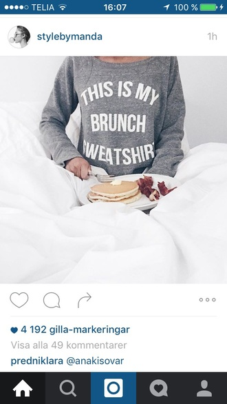 sweater grey sweater sweatshirt food printed sweater statement tees