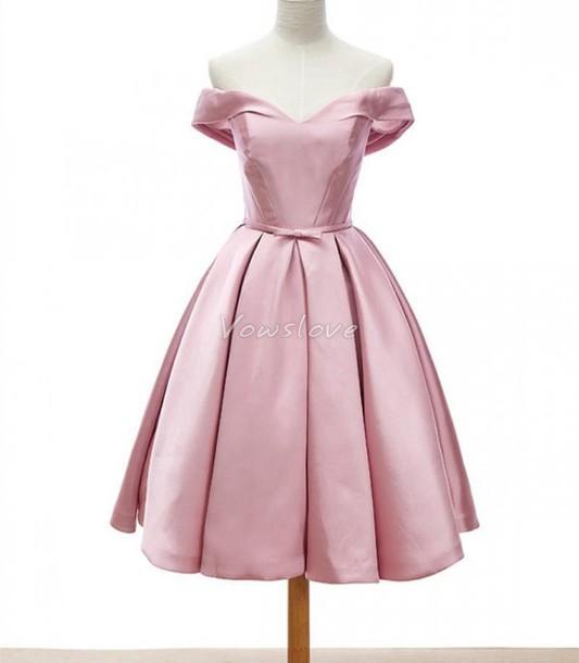dress pink dress short prom dress bridesmaid pink