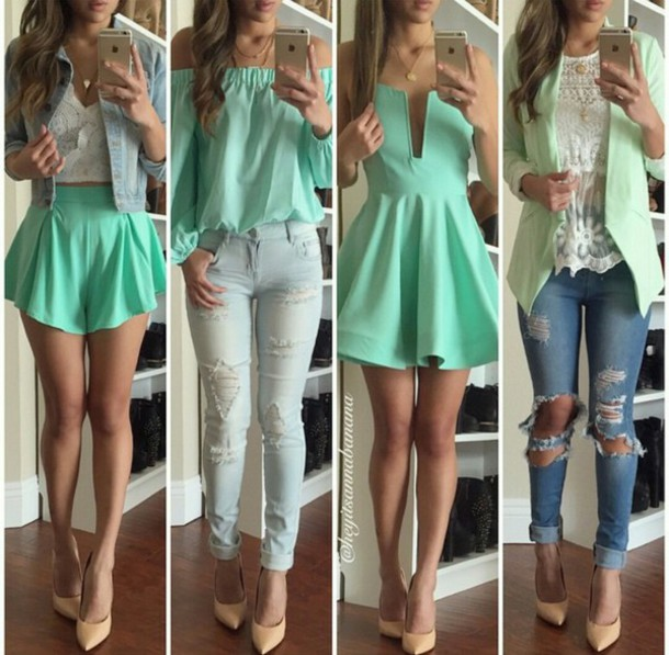 dress jacket shorts jeans blouse heels shoes crop tops tank top skirt shirt turquoise white green nude outfit ripped jeans cardigan mint green dress sexy plunge dress plunge dress