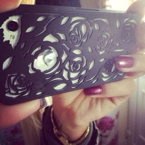 phone case jewels iphone black floral hallow iphone 5 cases