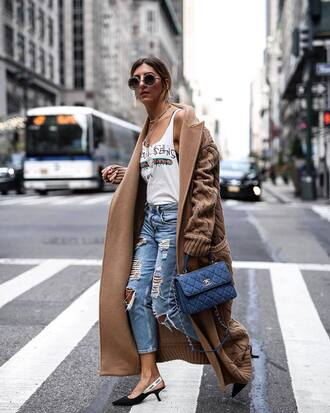 coat camel coat tumblr camel camel long coat denim jeans ripped jeans shoes slingbacks top white top sunglasses round sunglasses