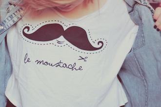 t-shirt white black moustache