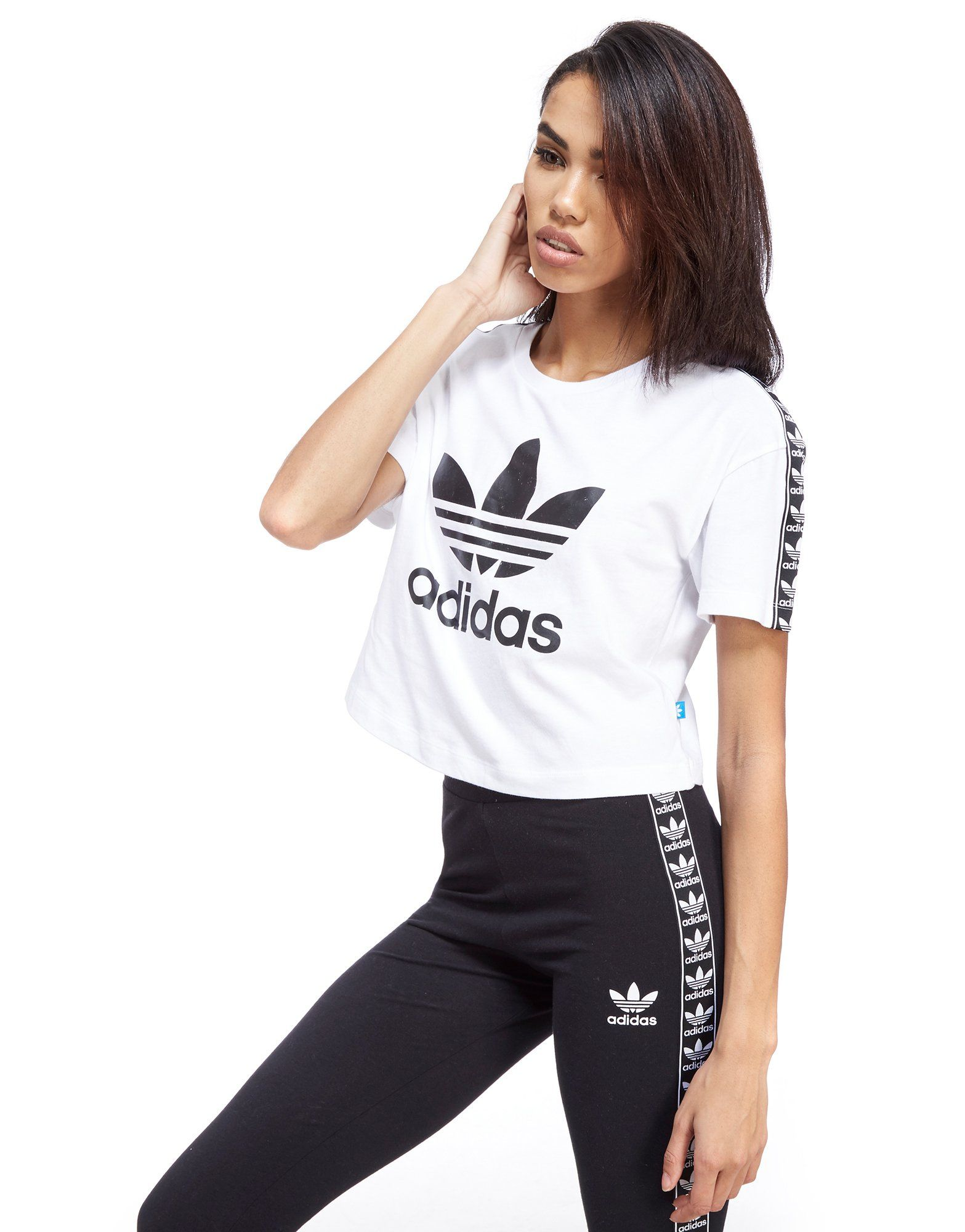 adidas Originals Tape Crop T-Shirt | JD Sports