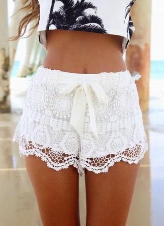 shorts white crochet lace