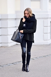 by annna,blogger,scarf,fall outfits,knitted sweater,black,pants,bag,leather pants