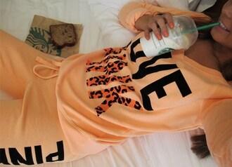 t-shirt pink victoria's secret orange pink by victorias secret