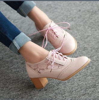 shoes pink lace oxford heels