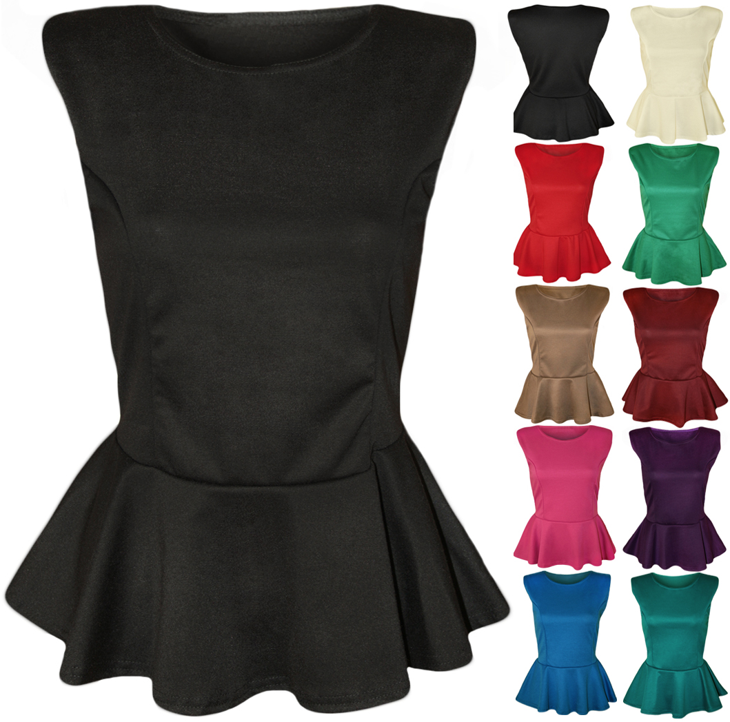 New Womens Peplum Frill Hem Sleeveless Ladies Plain Bodycon Party Top 8 - 14 | eBay
