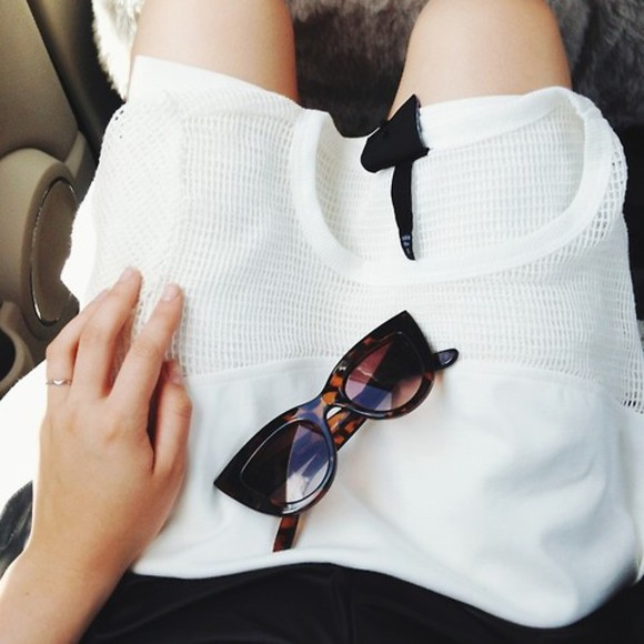 sunglasses top mesh mesh detail cat eye sunglasses tortoiseshell tortoiseshell sunglasses shirt net white see through tumblr shades