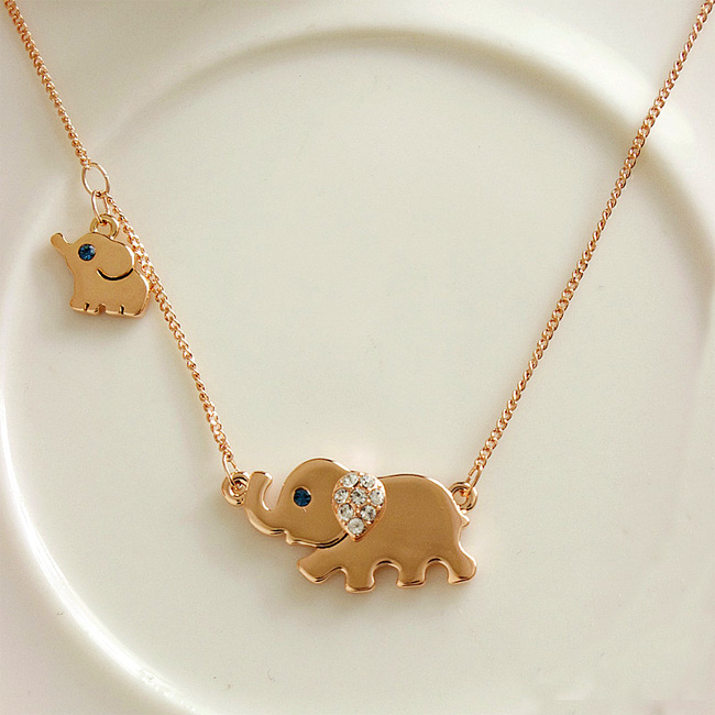 Fashion Cute Rhinestone Elephant Pendant Necklace [grzxy61000001] on Luulla