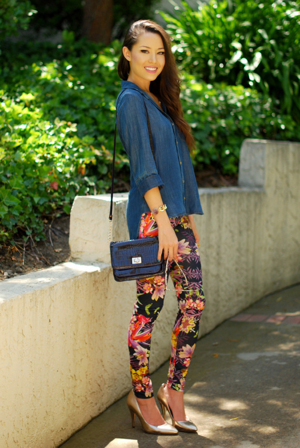 hapa time jewels shirt bag shoes pants leggings printed leggings tropical tropical floral fashion blogger Pop Couture