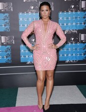 dress,thick,taf,legs,tan,ioled,oiled,pink,shapes,plus size,hot pink dress,pink dress,long sleeves,demi lovato,geometric