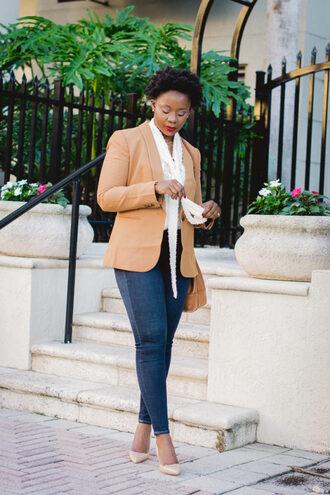 pinksole blogger jewels jacket shirt jeans shoes bag make-up blazer pumps skinny jeans
