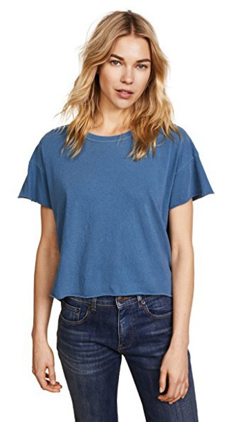 THE GREAT. crop tee blue top