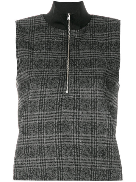 Wood Wood - checked zipped sweater - women - Polyamide/Polyester/Spandex/Elastane/Wool - 40, Grey, Polyamide/Polyester/Spandex/Elastane/Wool