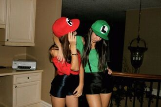 hat luigi outfit party cap mario shorts black shorts t-shirt green red halloween mario luigi costume bff sweater blouse wall marts green and red snapbacks form mario and luigi top black high waisted shorts shirt