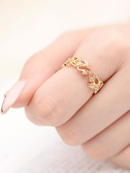 Gold Cut Out Rhinestone Embellished Open Ring