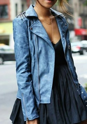 jacket,leather jacket,blue,studs,ocean blue,glamour,causy