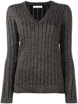 jumper sparkle metallic women black wool sweater