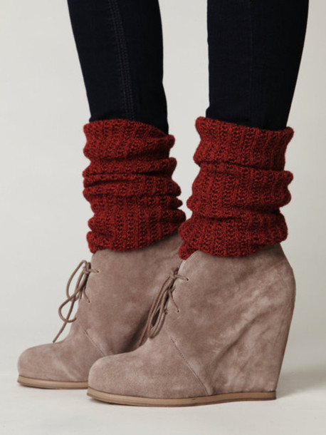 Shoes: wedges, boots, nide, lace up, red, grey wedges, leg warmers ...