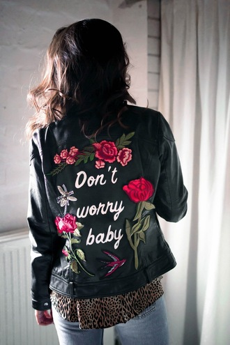 jacket tumblr embroidered embroidered jacket black jacket leather jacket black leather jacket denim jeans light blue jeans shirt leopard print rose embroidered