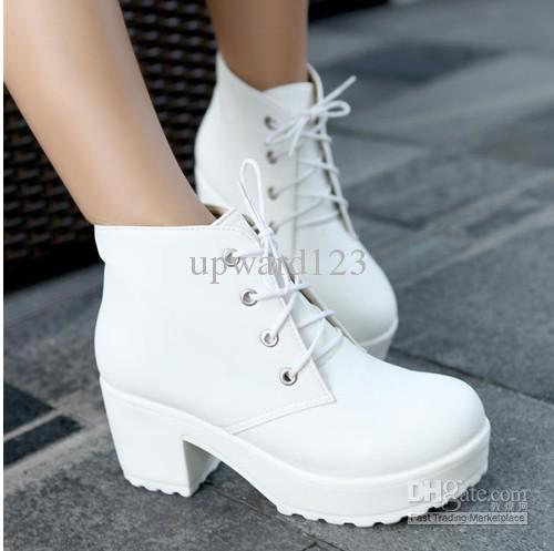 374a39019a3 Locomotive Boots Platform Shoes Short Boots Women Chunky Heel Ankle Boots  Knight Boots White Black ~