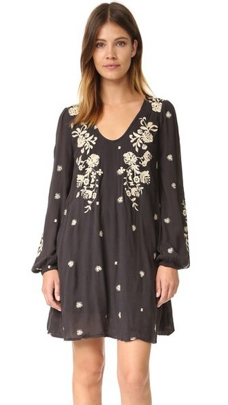 dress mini dress mini embroidered sweet black