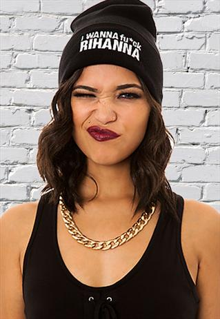 New I wanna fck rihanna black white beanie winter hat | retro-ville | ASOS Marketplace