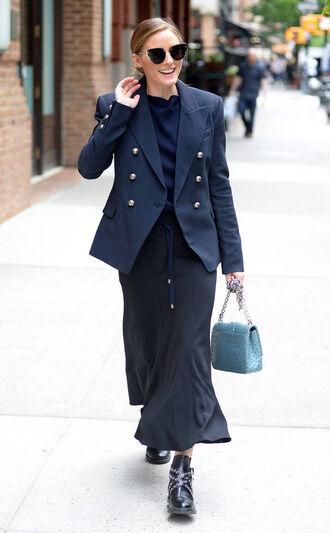 jacket navy blazer olivia palermo streetstyle sunglasses