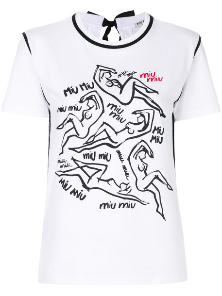 Miu Miu t-shirt shirt t-shirt women white cotton print top