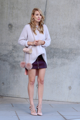 ohh couture blogger bag shoes skirt top sweater scarf jewels aquazzura pumps
