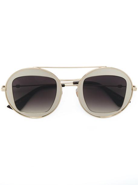 Gucci Eyewear - metal frame sunglasses - women - metal/Acetate - 47, Brown, metal/Acetate