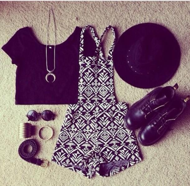 jumpsuit hat crop tops jewels shoes shirt