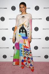dress,long sleeve dress,maxi dress,zendaya,colorful,spring,pumps,shoes