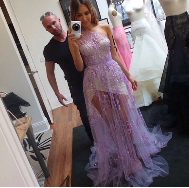dress lavender dress gown lace dress see through dress