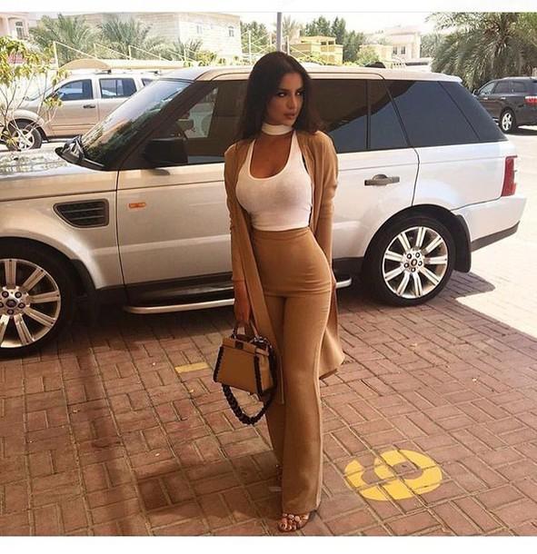 pants nude bell bottoms camel coat top coat