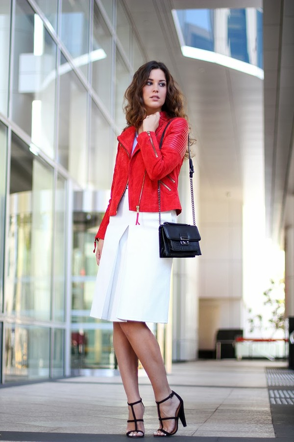 Leather Look A Line Skirt - Dress Ala